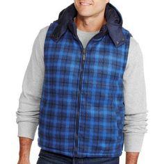 Men's Reversible Plaid Buffalo Vest, Size: XL, Black