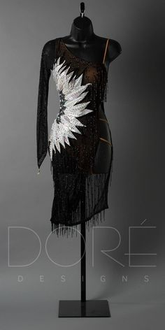 BLACK LATIN WITH SILVER PETALS AND ONE SLEEVE – DORÉ DESIGNS