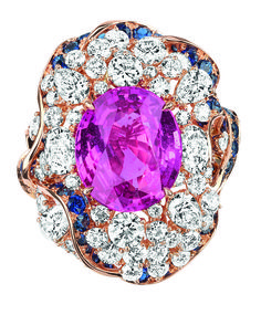 Dior - Galon Saphir Ring. 750/1000 yellow and pink gold, diamonds, sapphires and pink sapphire.