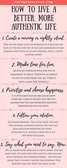 CLICK THE PIN FOR ALL 10 tips to help you amp up your authenticity, improve your life, become a better person, and trust your intuition! Wondering how to live an authentic life when everyone's always trying to get you to follow their rules and take their advice? Check out The Truth Practice to read about inspiration, authenticity, happy living, manifestation, getting rid of fear, intuition, self-love, self-care, words of wisdom, relationships, affirmations, finding passion, & positive…