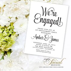 Classy Black and White Calligraphy Typography Engagement Party Invitation Printable