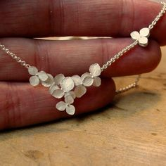 Silver Flower Necklace Sterling Silver Hydrangea Cluster, Wedding Necklace, Made to order. $158.00, via Etsy.