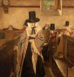 Sydney Curnow Vosper - Salem (1908) An old woman in the Welsh national costume, with Welsh hat and shawl, attending a congregation at Salem Chapel, Cefncymerau. The painting became notorius when it was claimed the devil was painted in the folds of the woman's shawl.