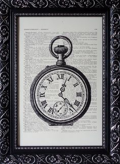 BOOK PRINT the pocket watch steampunk art print on an vintage french dictionary page watch print mixed media dictionary print(329)