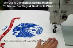 We use a commercial sewing machine for stitching a flag or a guidon to acid-free mats or acid-free foamboard. This is the preferred way to secure a flag or guidon inside a frame. Sewing prevents the flag or guidon from falling or sagging. This is all part of quality military framing. #guidons #framedguidons #militaryframing #guidonframing