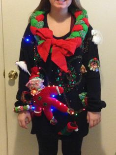 Winner Ugly Christmas Sweater Lights Up Dark Red