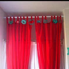 #red turqiouse DIY bathroom decor... Ikea curtains with handmade embellishments-turned into shower curtain
