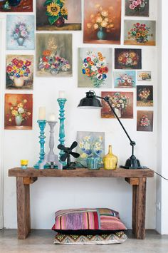 Floral-themed gallery wall.
