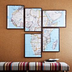 Map decor ideas - @Victoria Brown Bradford - frame big map for your office?