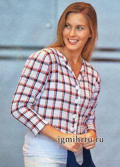 jaqueta de Tri-color em uma gaiola na técnica de lombo de tricô, por designers finlandeses.  crochê