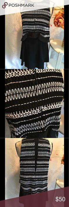"""Derek Lam Dress Heavily Beaded Dress in Black and White.  This one Piece dress gives the illusion of a dress and Hi-Low Top.  Skirt also has a secret-looks like a wrap style skirt but provides full coverage.  Only condition issue is that it appears that it was stored folded, so there's some creasing and broken thread in the front as pictured.  Does not appear to be missing any beads.  Long back zipper on dress portion, Top overlay looks open in back.  Measures 35"""" long, and 17"""" armpit to…"""