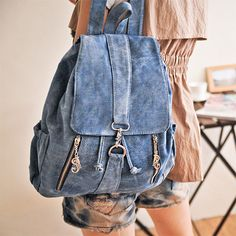 GEEN PATROON Fashion Cowboy Style Simple Zip Denim Backpack - Light Blue [grhmf22000183]