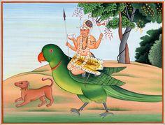 Shiva Bhairava on a parrot