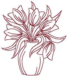 Crewel Embroidery Design Redwork Tulips in Vase Embroidery Design - Hardanger Embroidery, Paper Embroidery, Learn Embroidery, Japanese Embroidery, Crewel Embroidery, Vintage Embroidery, Types Of Embroidery, Machine Embroidery Designs, Embroidery Patterns