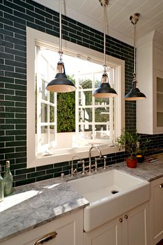 Economical black-painted brick veneer tiles in a kitchen by Leigh Herzig