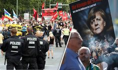 THOUSANDS of people have taken to the streets of Berlin to protest against Angela Merkel's open door refugee policy.