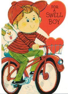 Vintage Valentine Card Boy on Bicycle with Dog Hallmark Envelope Unused Die-Cut