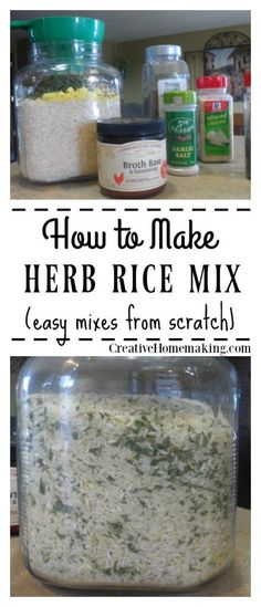 Easy homemade rice mix recipe you can make from scratch with ingredients you probably already have on hand. One of many inexpensive rice mixes recipes from scratch! Easy, inexpensive recipe for herb rice mix. Healthy and tastes better than store bought. Homemade Dry Mixes, Homemade Spices, Homemade Seasonings, Homemade Products, Homemade Gifts, Mason Jar Meals, Meals In A Jar, Mixed Rice Recipe, Seasoned Rice Recipes
