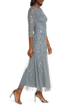 Pisarro Nights Embellished Mesh Gown (Regular & Petite) | Nordstrom Mother Of Bride Outfits, Mother Of Groom Dresses, Mothers Dresses, Baby Girl Dresses, Mother Of The Bride, Baby Girls, Wedding Pantsuit, Groom Wedding Dress, Dresses To Wear To A Wedding