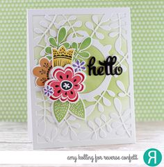 Card by Amy Kolling. Reverse Confetti stamp set: Blooms 'n Buds. Confetti Cuts: Blooms 'n Buds, Fancy Words, and Leaves Cover Panel. Friendship card. Encouragement card.