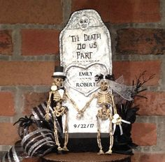 Skull wedding cake topper,black,clay,white,Humorous,All The Best Card Boxes #White
