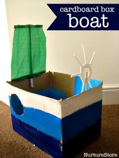 a sailor : make a boat! How to make a simple cardboard box boat craft - junk model boatHow to make a simple cardboard box boat craft - junk model boat Boat Crafts, Pirate Crafts, Crafts For Kids, Easy Crafts, Pirate Activities, Craft Activities, Toddler Activities, Pirate Games, Pirate Day