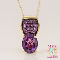 Our happy place wouldn't be complete without the perfect pendant! || 3.34ctw Oval And Round African Amethyst 18k Yellow Gold Over Silver Pendant With Chain [Promotional Pin]
