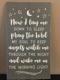Rustic pallet sign 'Now I lay me down to sleep', children's prayer, children's room decor, nursery decor, baby shower gift by Rusticpalletshop1 on Etsy