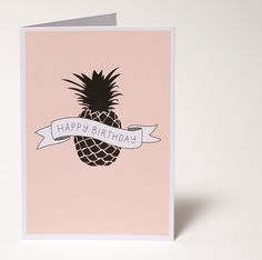 Tropical Pineapple birthday card // Hand drawn design by Emily Zarb at audreysstore.com // on sale at Etsy <3  #illustration #drawing