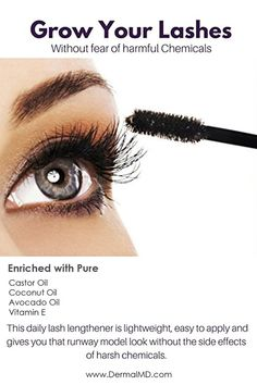 grow your lashes without fear of harmful chemicals Pure Castor Oil, How To Grow Eyelashes, Eyelash Growth Serum, Natural Eyelashes, Model Look, Avocado Oil, Fragrance, How To Apply, Pure Products