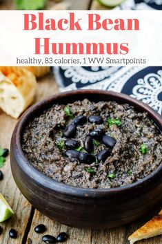Black Bean Hummus made with simple ingredients you already have at home is a tasty, fun alternative to traditional hummus. With just 88 calories for cup serving, it's the perfect healthy snack with veggies, baked tortilla chips, or pretzels. Healthy Work Snacks, Clean Eating Snacks, Healthy Recipes, Healthy Foods, Vegan Snacks, Soup Recipes, Healthy Eating, Healthy Appetizers, Appetizer Recipes