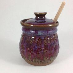 Ceramic Honey Pot Pottery Honey Jar by CharlotteLeePottery on Etsy