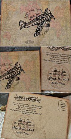 Vintage Aviation Postcard Save the Date | Sunshine and Ravioli