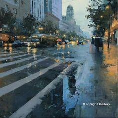 Market Street Reflection. Oil, 24 x 24 in. Hsin-Yao Tseng