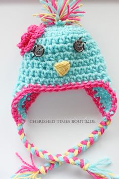 Kerri!!!  If you can figure this out, I'd LOVE these for the twins!  Betty Blue Bird Crocheted Birdie Hat