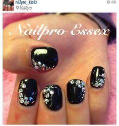 black nails with rhinestones