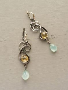 Silver pearl earrings Primrose Citrine halcedony by UrsulaJewelry Wire Wrapped Earrings, Cuff Earrings, Silver Earrings, Citrine Earrings, Wire Necklace, Silver Bracelets, Crystal Earrings, Crystal Beads, Silver Ring