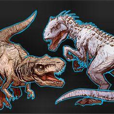 Jurassic World - Indominus Rex vs T-Rex Jurassic World Indominus Rex, Jurassic World 2015, Jurassic World Dinosaurs, Jurassic World Fallen Kingdom, Jurassic Park Trilogy, Godzilla, Spinosaurus, Falling Kingdoms, Dinosaur Art