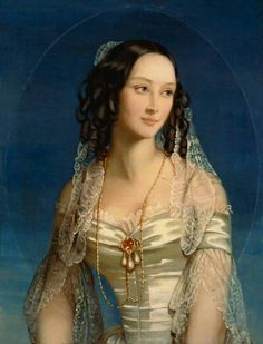 Zenaida Ivanovna Naryshkina, 1809-1893, portrait by Christine Robertson, c 1845.  Married Prince Boris Yusupov-Knyazhevo; had a son Nikolay Yusupov-Knyazhevo. who in turn had a daughter named Zenaida, who married Count Felix Felixovich Sumarokov-Elston, and had the famous (or infamous) son Prince Felix Yusupov.