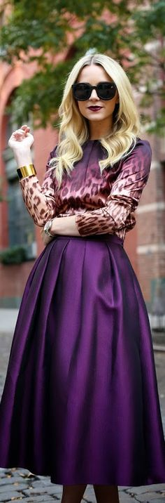 A deep animal print with purple would be smashing! Street Style | Atlantic-Pacific