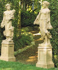Create a fabulous garden entrance with statues - Decoist Garden Urns, Garden Statues, Garden Sculpture, Landscaping Software, Garden Landscaping, Landscape Design, Garden Design, Garden Entrance, Victorian Gardens