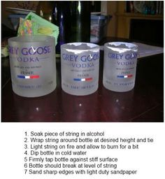 Cut bottles to makes drinking glasses