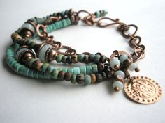 bracelet - copper and turquoise