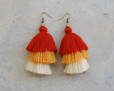 Three Light Brown Tassel Earrings