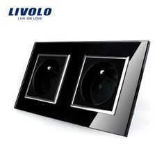 LIVOLO 16A French Standard, Wall Electric / Power Double Socket / Plug, Crystal Glass Panel,VL-C7C2FR-12