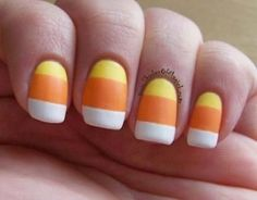Candy corn is one of the best parts (and nail designs) of October, so give this easy nail art a try for Halloween. #Nails #Halloween #CandyCorn