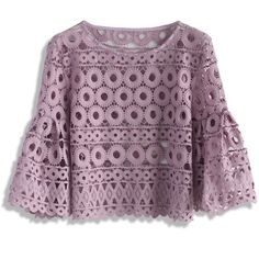 Chicwish Circle of Love Crochet Top in Purple (740 MXN) ❤ liked on Polyvore featuring tops and purple