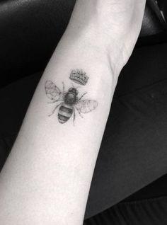 Half-needle bee tattoo by Doctor Woo