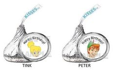 PETER PAN TINKERBELL FAIRY NEVERLAND BIRTHDAY PARTY kiss labels PARTY FAVOR