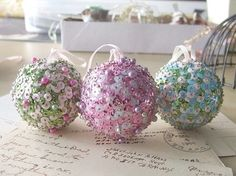 sequin ornaments set of 3 by wickedpen on etsy $18